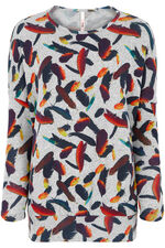 Stella Morgan Bright Feather Print Soft Touch Sweater