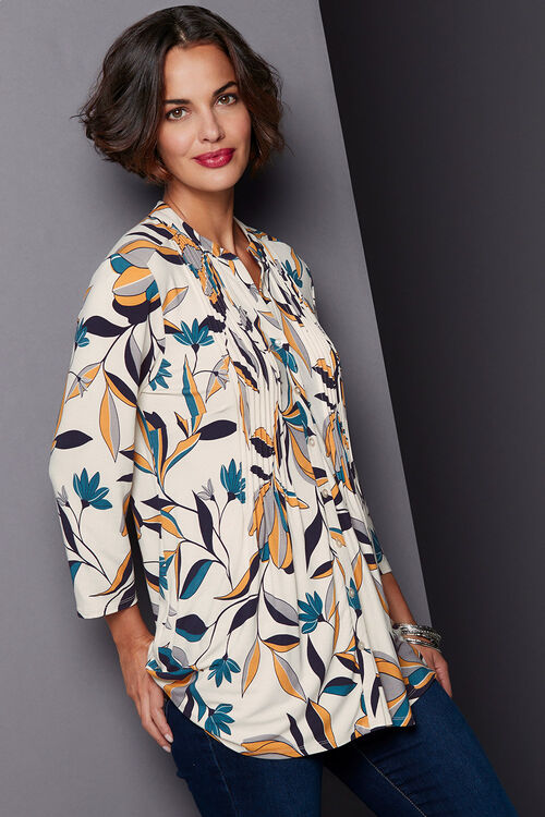 Graphic Floral Pintuck Detail Jersey Top