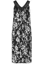 Mono Floral Crinkle Sleeveless Crochet Neck Dress