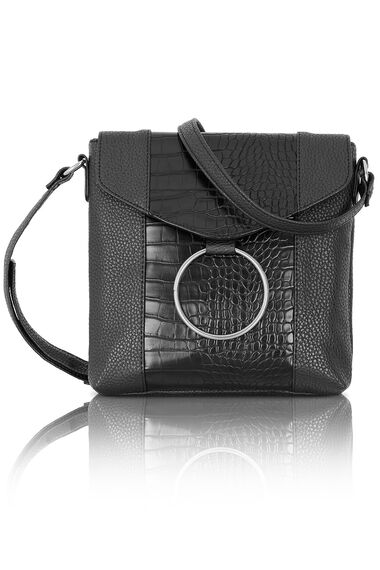 Mock Croc Cross Body Bag with Ring Detail
