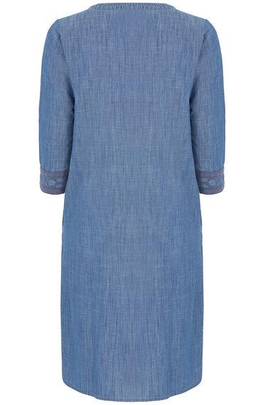 Denim Dress with Broderie Trim