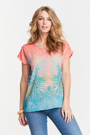 Palm Mirror Print Woven Front T-Shirt