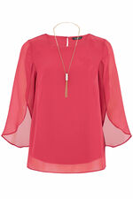 Plain Double Layer Split Sleeve Blouse With Necklace