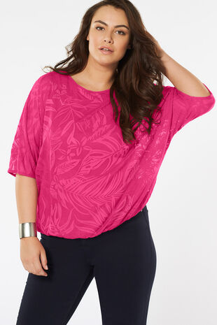 Palm Print Textured Jersey Blouson Top