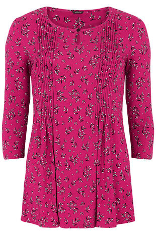 Ditsy Leaf Floral Pintuck Detail Jersey Top