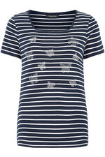 Stripe and Butterfly Print T-Shirt