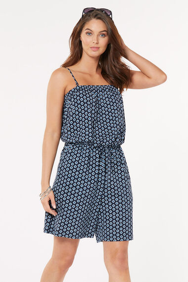 Pure Cotton Tile Print Jersey Playsuit