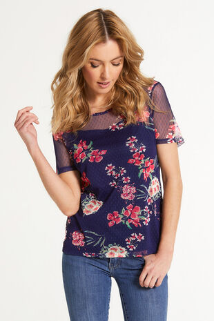 Floral Printed Short Sleeve Mesh Top