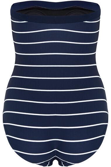Tropical Print Bandeau Swimsuit with Detachable Straps