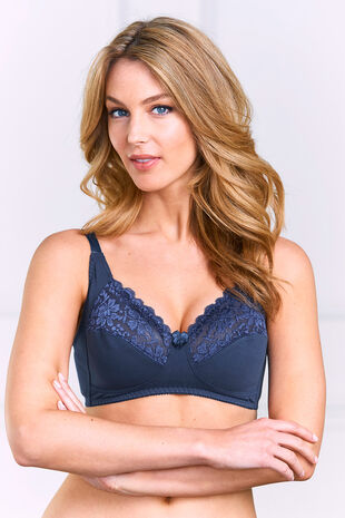 Cotton Lace Trim Non Wired Control Bra