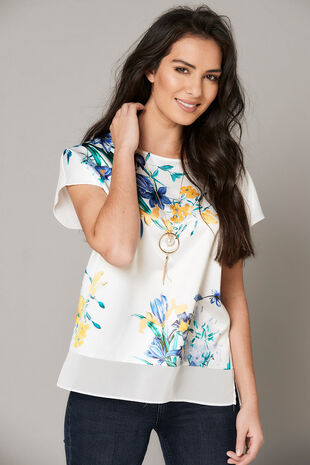 Floral Printed Top With Jersey Back And Necklace