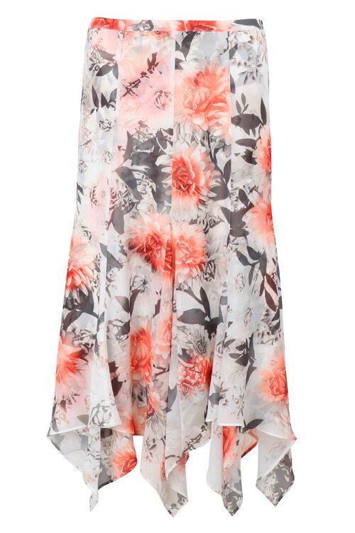 Floral Dip Hem Skirt