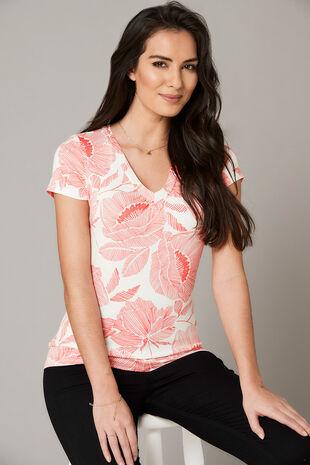Linear Floral Print V Neck Jersey Top