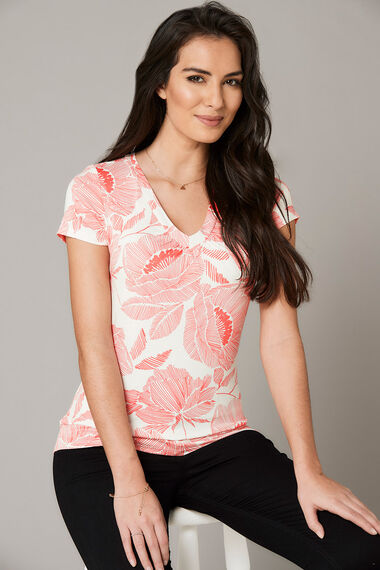 Linear Floral Print V Neck Jersey Top