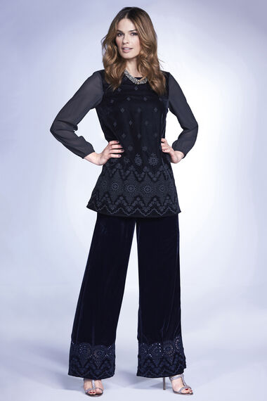 Signature Wide Leg Embroidered Velour Trousers