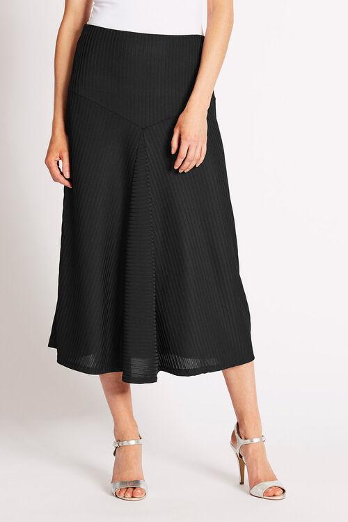 Black Ribbed Panelled Skirt