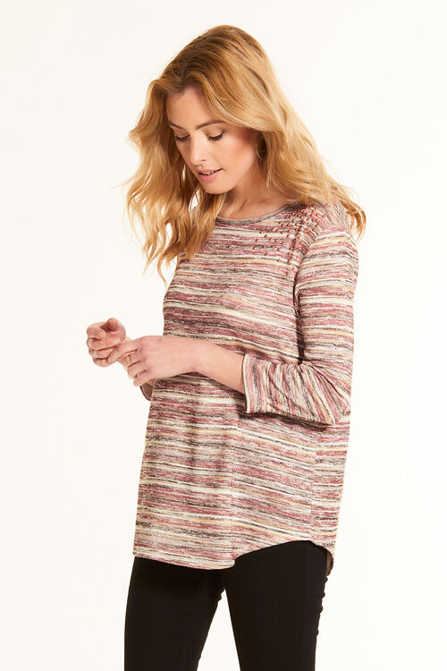 Light Knit Top with Pearl Embellishment