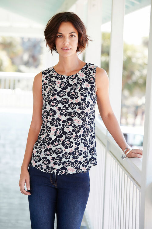 Sleeveless Floral Print Crepe Top