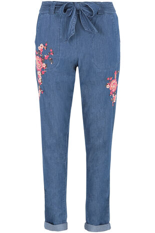 Embroidered Chambray Harem Trousers