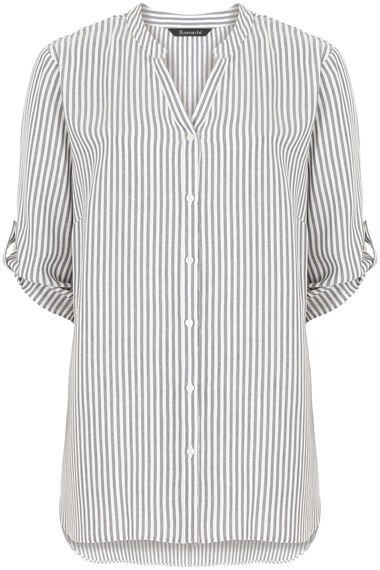 Longline Button Through Stripe Shirt