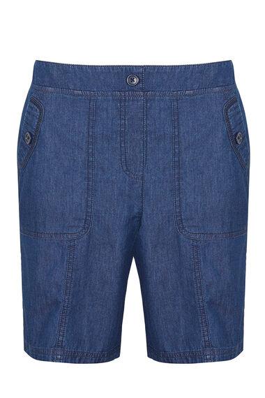 Chambray Cotton Cargo Shorts