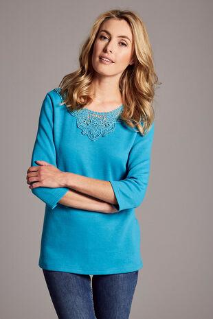 Lace Neckline Textured Rib T-Shirt