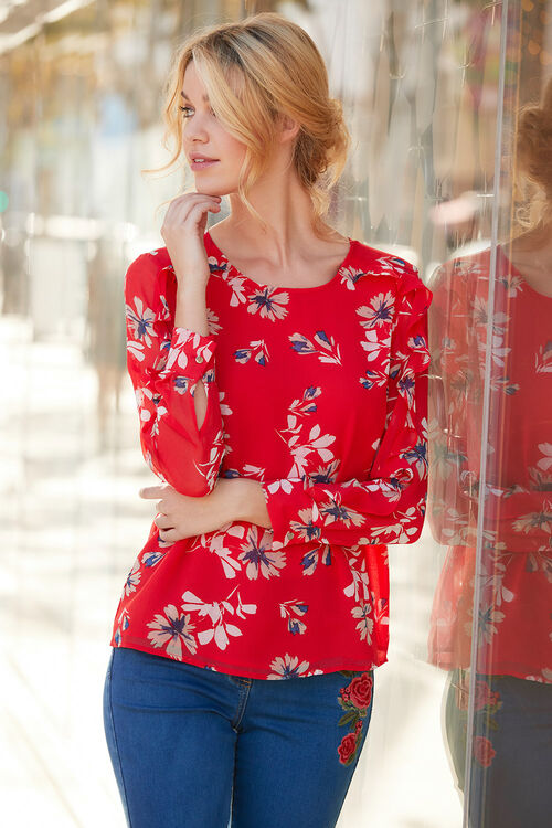 Floral Printed Blouse With Ruffle Detail