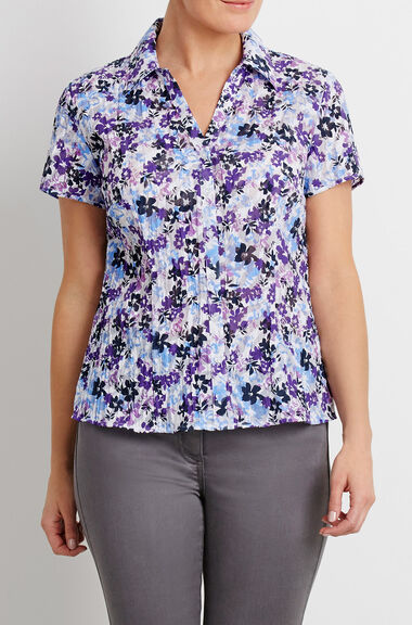 Short Sleeve Ditsy Floral Burnout Blouse