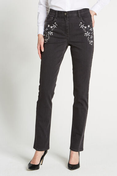 Comfort Waist Embroidered Jean