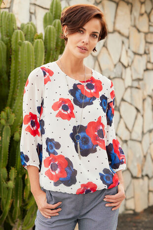 Poppy And Spot Print Blouse With Necklace