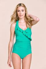 Ruffle Detail Halterneck Swimsuit