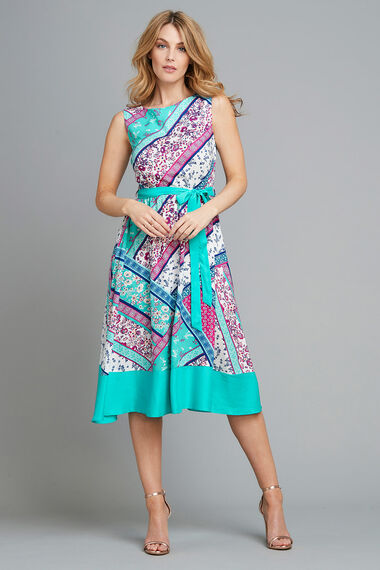 Patchwork Border Fit and Flare Dress