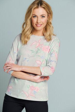 Floral Print Snit T-Shirt