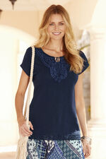 Short Sleeve Jersey Top With Crochet Detail