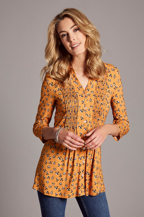 Ditsy Floral Pintuck Detail Jersey Top