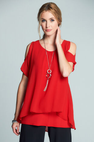 Cold Shoulder Top With Necklace