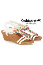 Cushion Walk Elasticated Sling Back 3D Floral Wedge Sandal