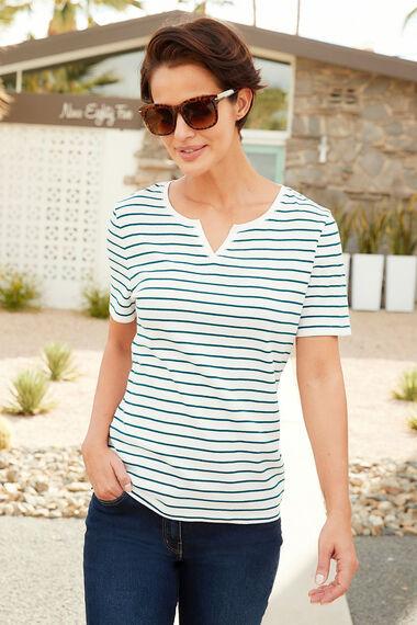 Stripe Notch Neck T-Shirt
