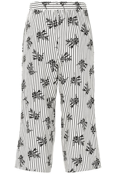 Stripe Leaf Print Wide Leg Cropped Trousers