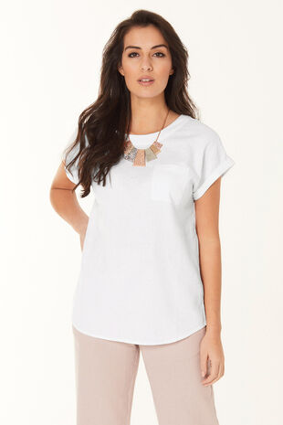 Plain Linen Blend Shell Top