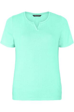 Notch Neck Basic T-Shirt