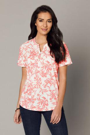 Stencil Floral Print Collar T-Shirt