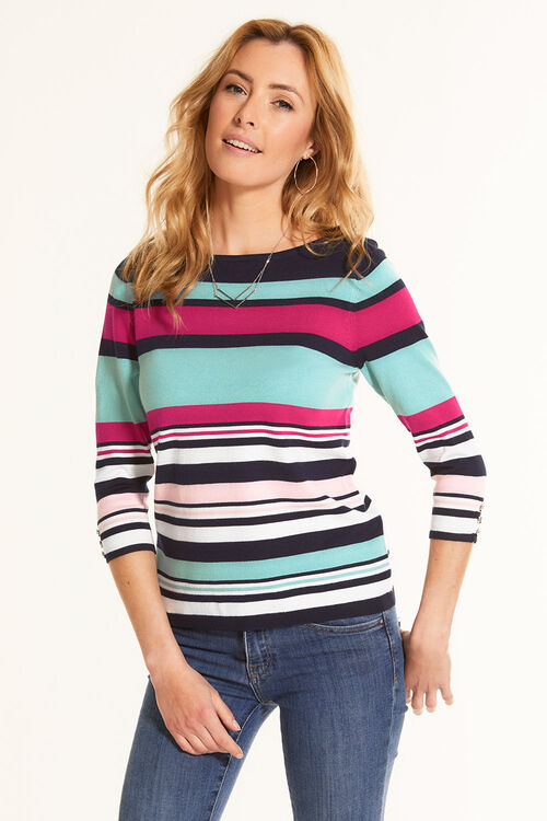 Stripe Jumper with Button Cuffs