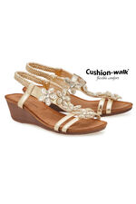 Cushion Walk Sling Back Wedge Sandal with 3D Flowers
