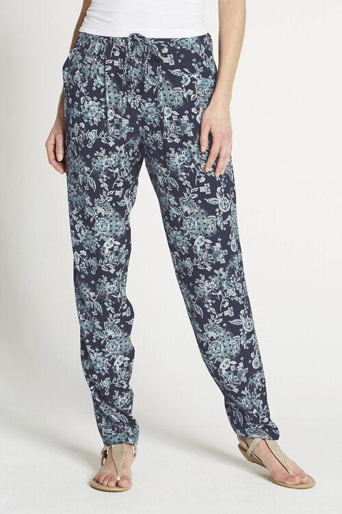 Patchwork Print Crepe Harem Trousers