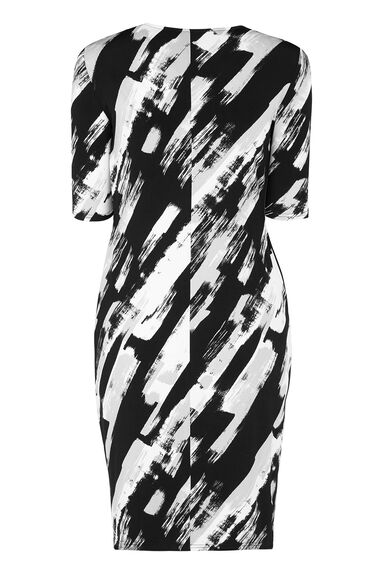 Brush Stroke Slouch Pocket Printed Dress