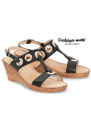 Cushion Walk Sling Back Wedge Sandal with Eyelet Detail