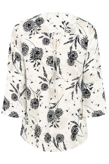 Printed Double Layer Top With Fluted Sleeve