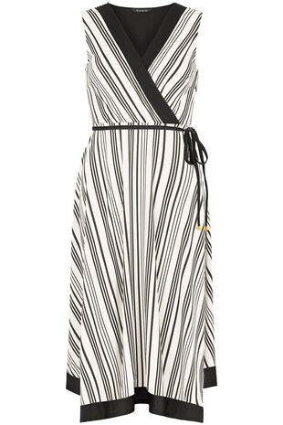 Striped Wrap Hanky Hem Dress