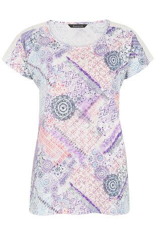 Patchwork Lace Shoulder T-Shirt